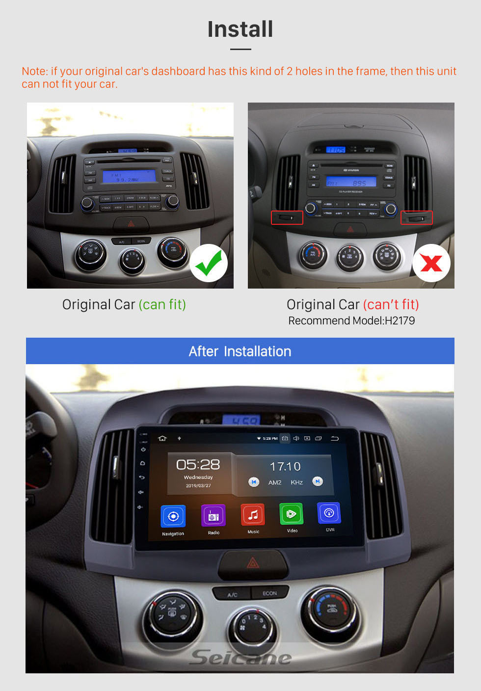 Seicane Aftermarket Android 10.0 GPS Navigation System for 2007-2011 HYUNDAI ELANTRA Radio Upgrade Bluetooth Music Touch Screen Stereo WiFi Mirror Link Steering Wheel Control support 3G DVD Player