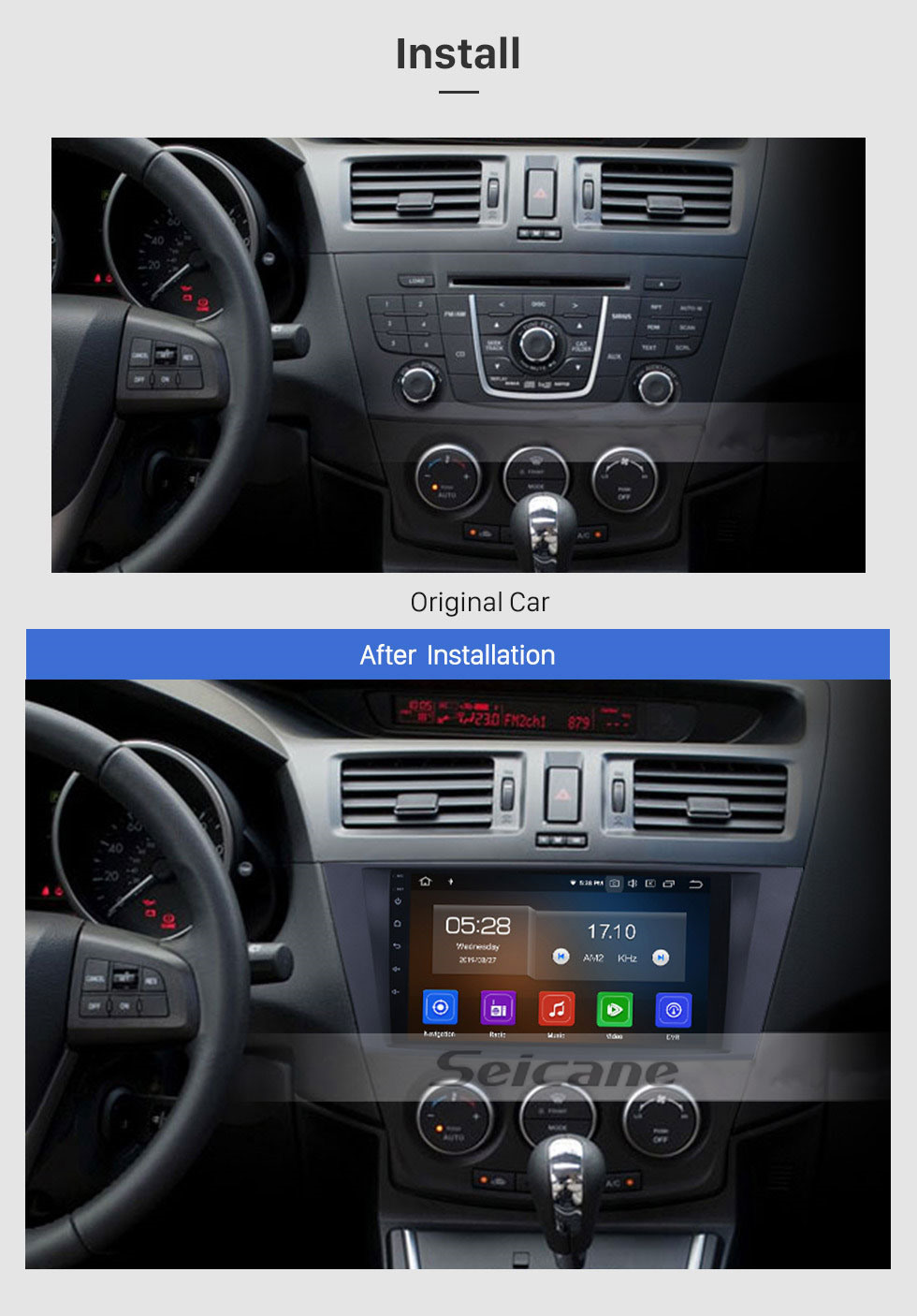 Seicane 9 inch For 2009 2010 2011 2012 Mazda 5 Android 10.0 HD Touchscreen GPS Navigation System Car Radio for Bluetooth USB WIFI OBD II DVR Aux Steering Wheel Control