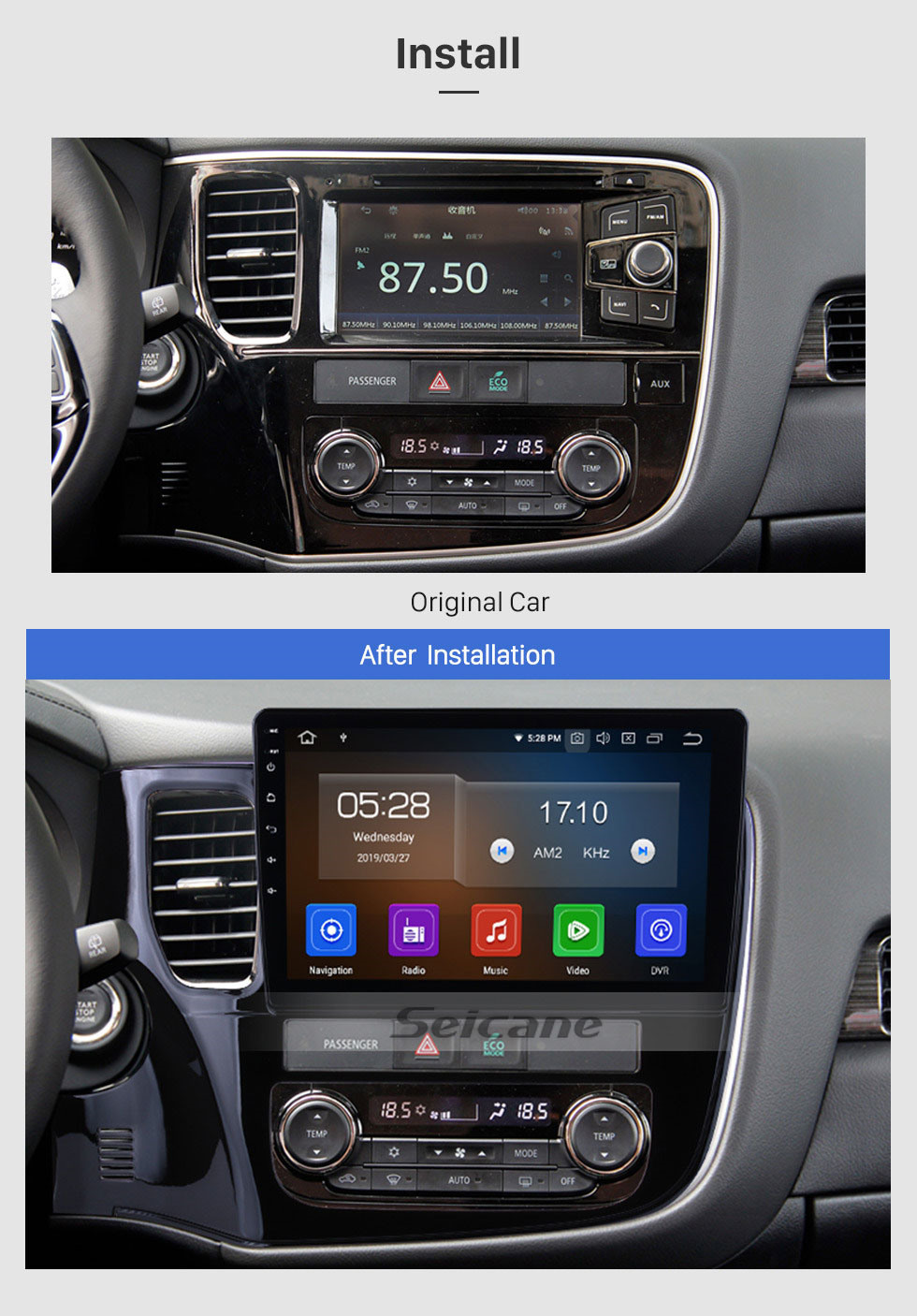 Seicane For 2014 2015 2016 2017 Mitsubishi Outlander 10.1 inch Android 10.0 HD Touchscreen GPS Bluetooth Navigation System Wifi AUX SWC Carplay USB support DVR 1080P Video TPMS