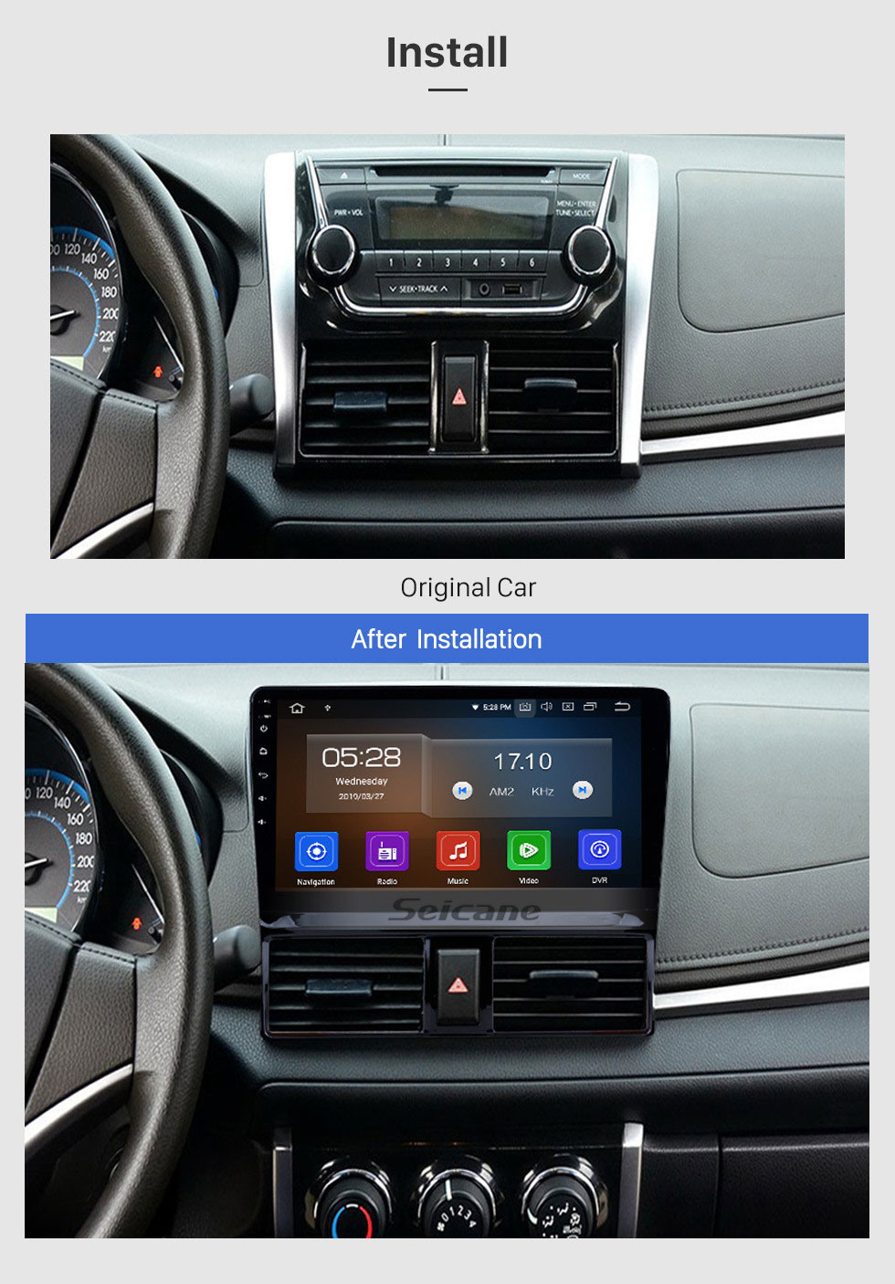Seicane In Dash For 2013 2014 2015 2016 TOYOTA VIOS Android 10.0 Radio Upgrade with Bluetooth GPS Navigation Car Audio System Touch Screen WiFi DVD Player OBD2 Backup Camera DVR AUX