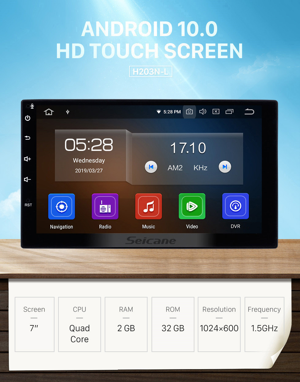 Seicane 7 Zoll HD Touchscreen 2 Din Universal Radio Android 10.0 GPS Navigationssystem mit Bluetooth-Telefon WIFI Multimedia Player 1080P Video USB Lenkradsteuerung