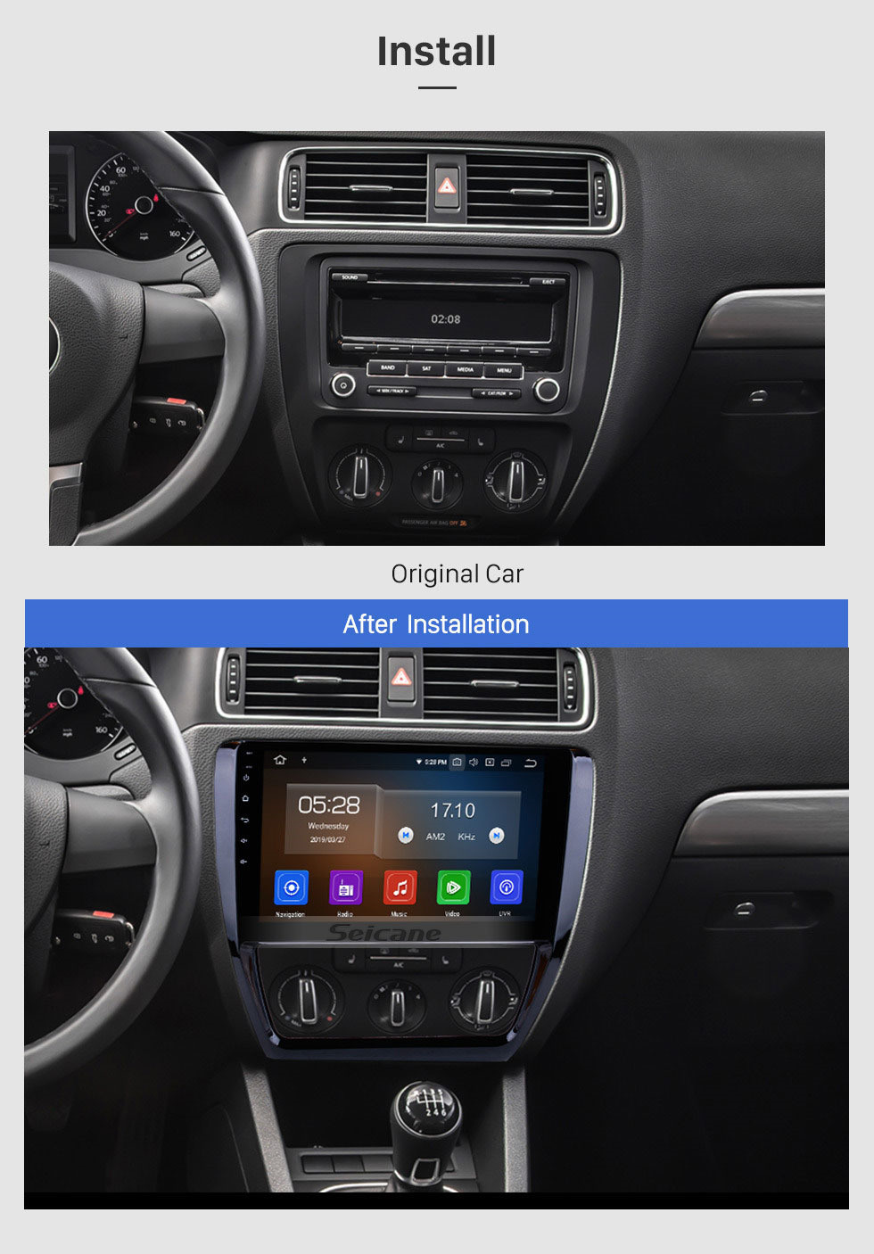 Seicane 10.1 inch HD Touchscreen Android 10.0 Radio for 2012-2015 VW Volkswagen SAGITAR GPS Navigation Bluetooth Phone WIFI SWC USB Carplay Rearview OBD2
