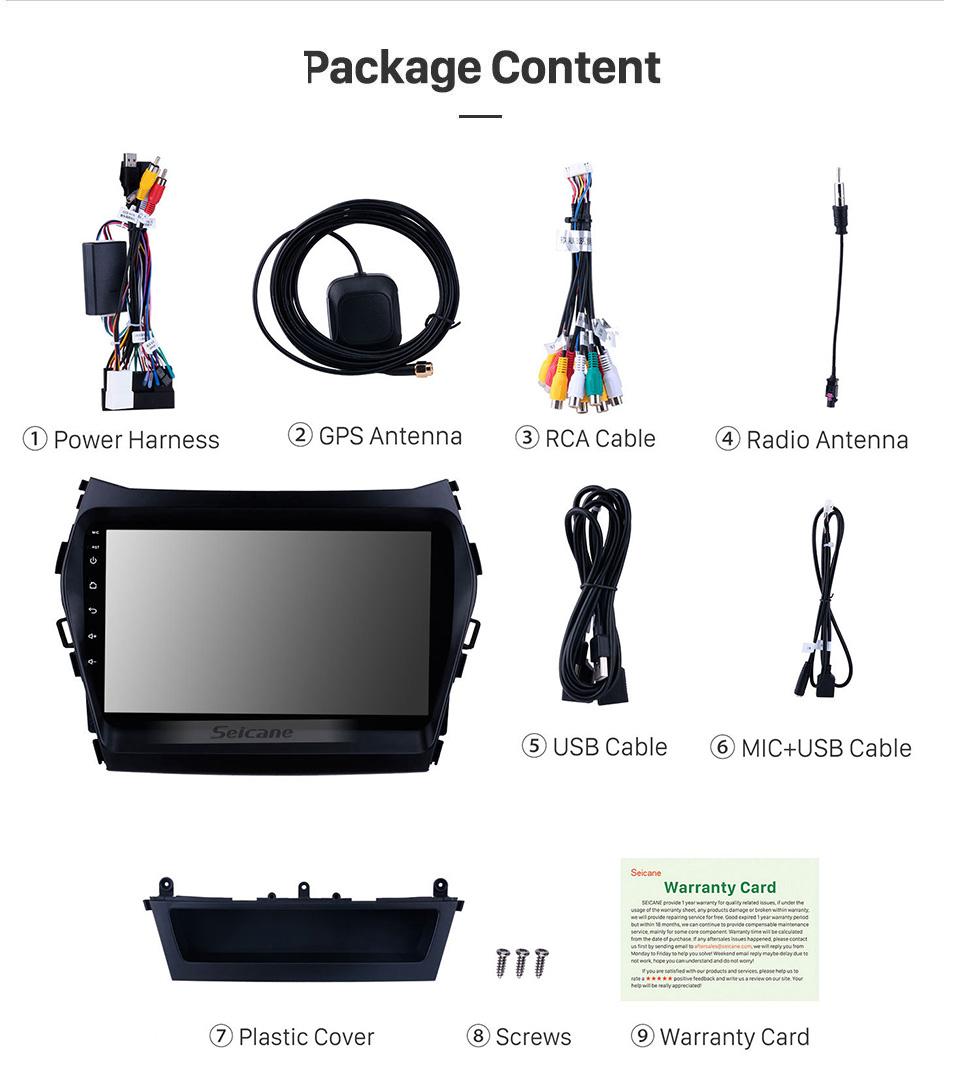 Seicane 9 дюймов 1024 * 600 с сенсорным экраном 2013 2014 Hyundai Santa Fe IX45 Android 9.0 Радио GPS OBD2 4G WIFI Управление на руле Цифровое телевидение Зеркальная связь Bluetooth Музыка