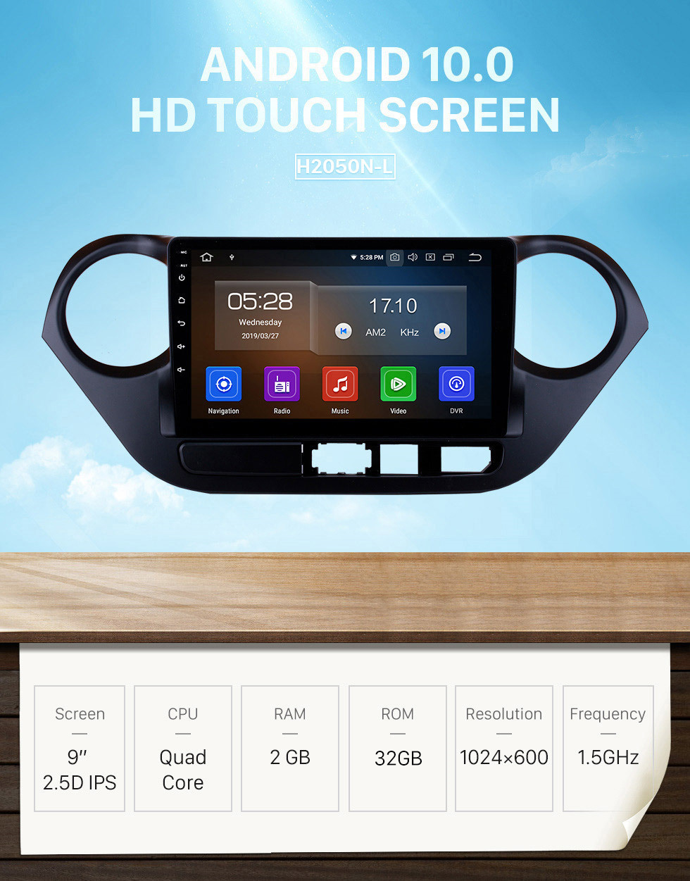 Seicane 9 inch Android 10.0 GPS Navigation System HD Touch Screen Radio 2013-2016 Hyundai I10 (LHD) Support OBD2 Bluetooth DVD Player DVR Rearview Camera TV Video Steering Wheel Control WIFI