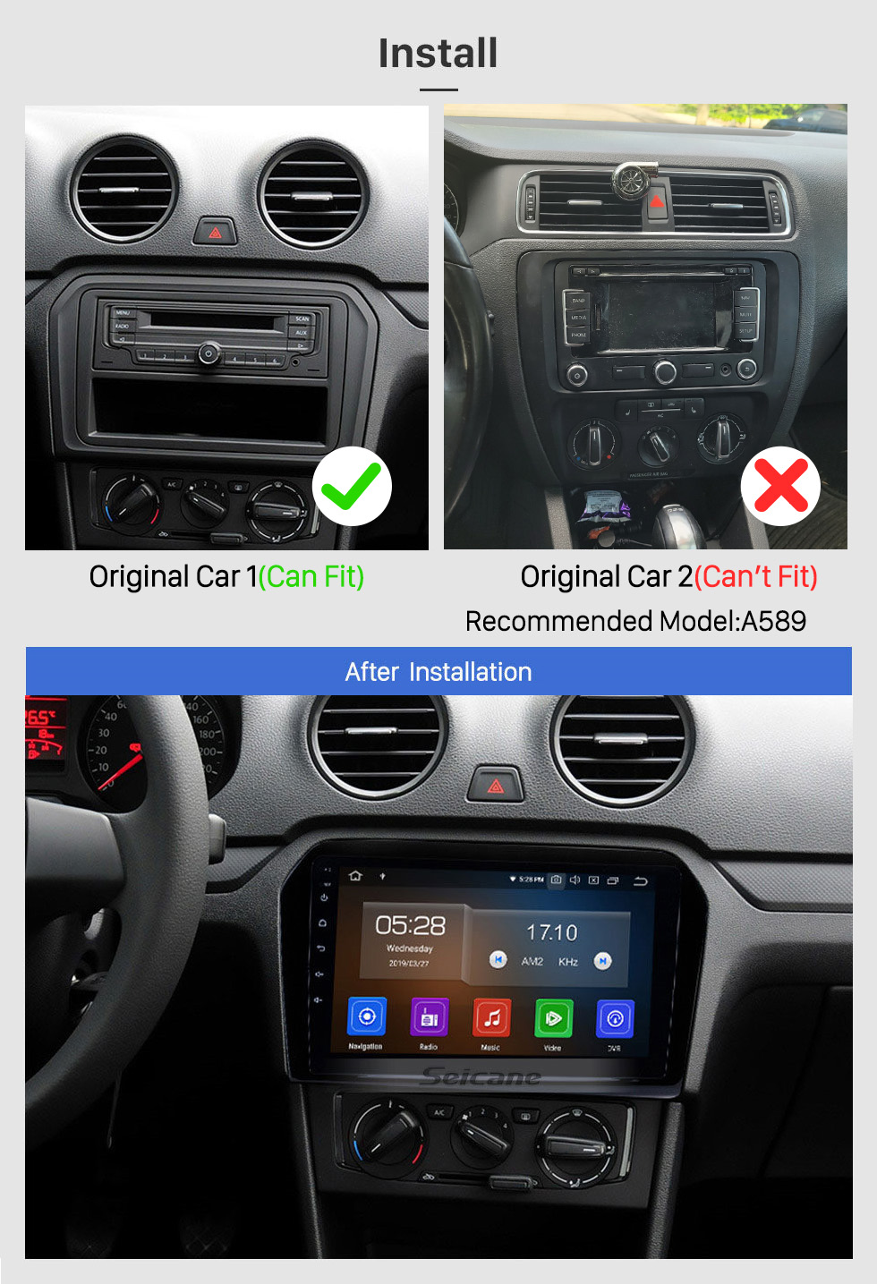Seicane 9 Inch 2012 2013 2014 2015 VW Volkswagen Passat Android 10.0 HD Touchscreen Radio JETTA Support TPMS DVR OBD II Rear camera AUX 3G WiFi HD 1080P Video
