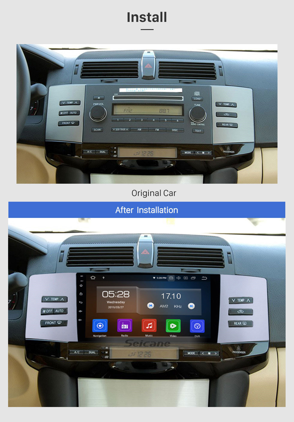 Seicane 9 inch Android 10.0 HD Touchscreen Radio GPS Navigation system For 2005 2006 2007 2008 2009 Toyota Old Reiz Bluetooth Support OBD2 USB WIFI DVR Mirror Link Carplay