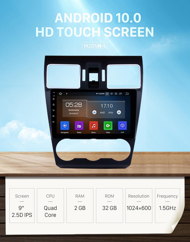 Seicane 2014 2015 2016 Subaru WRX Forester 9 pulgadas Android 10.0 Radio Sistema de navegación GPS Pantalla táctil Bluetooth 4G WiFi DAB + TPMS DAB + DVR OBDII Reproductor de DVD