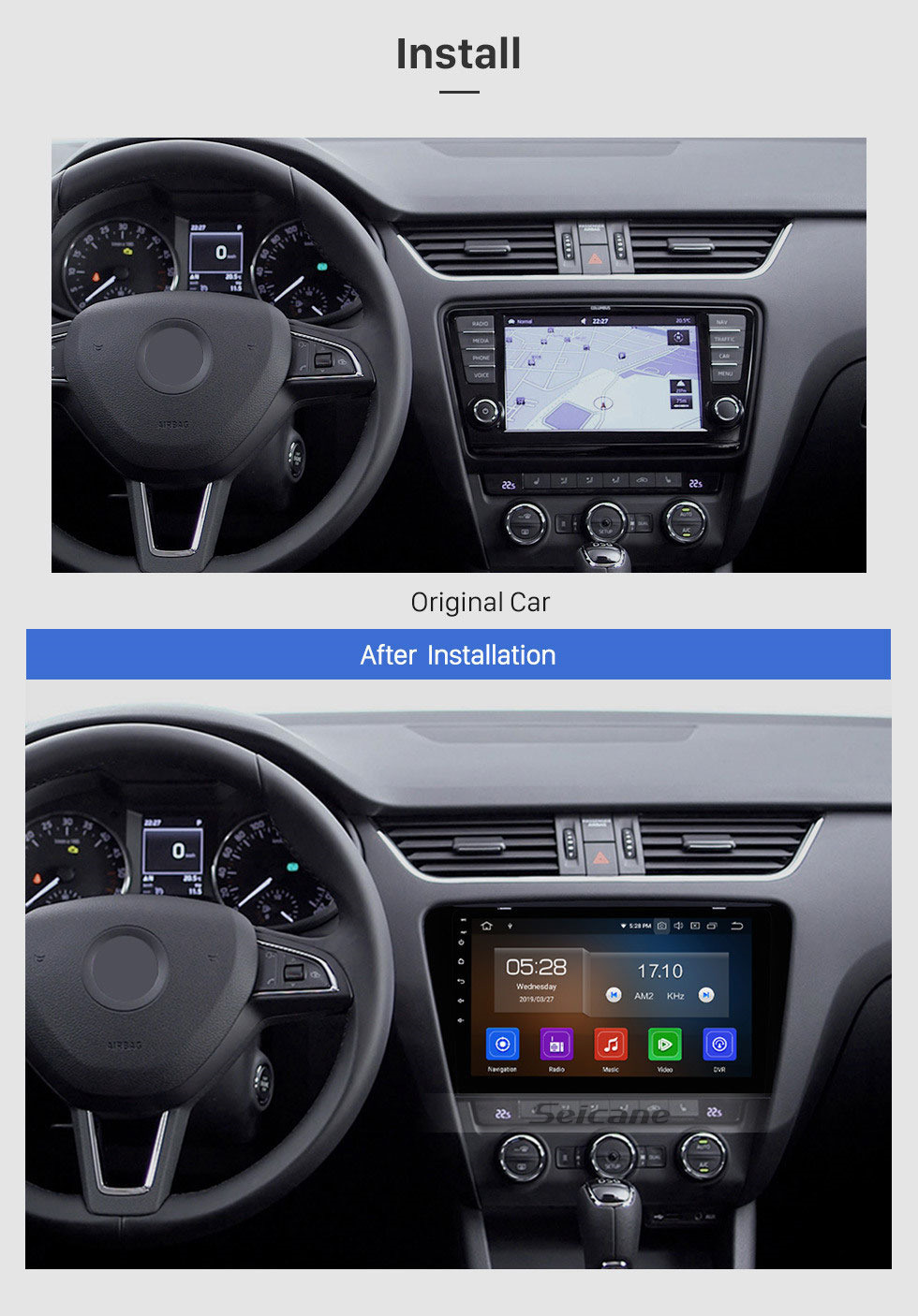 Seicane OEM 10.1 inch 2015 2016 2017 SKODA Octavia (UV) HD Touchscreen Android 10.0 auto stereo GPS Navigation System For  Support Bluetooth 3G/4G WIFI USB DVR OBD2 Rear View Camera