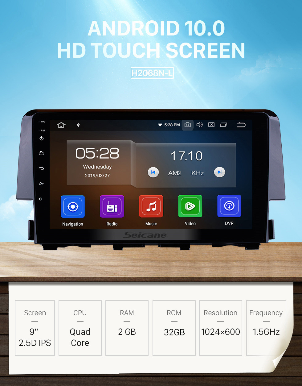 Seicane 9 inch Android 10.0 2016 HONDA CIVIC HD Touchscreen Radio GPS Navigation Bluetooth WIFI USB Mirror Link Aux Rearview Camera OBDII TPMS 1080P video