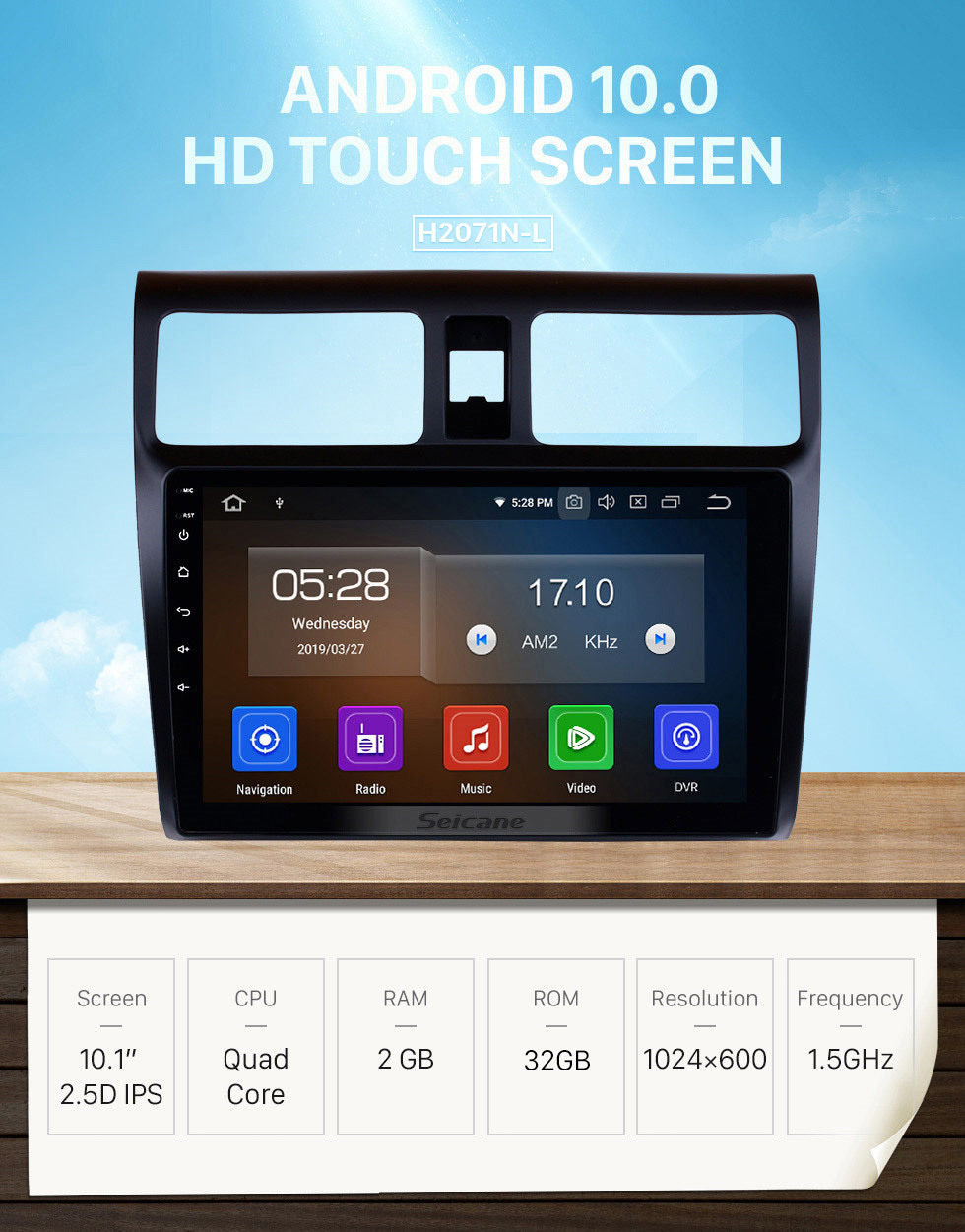 Seicane 10.1 inch Android 10.0 2005-2010 Suzuki Swift HD Touchscreen Radio GPS Navigation Bluetooth WIFI USB Mirror Link Aux Rearview Camera OBDII TPMS 1080P video