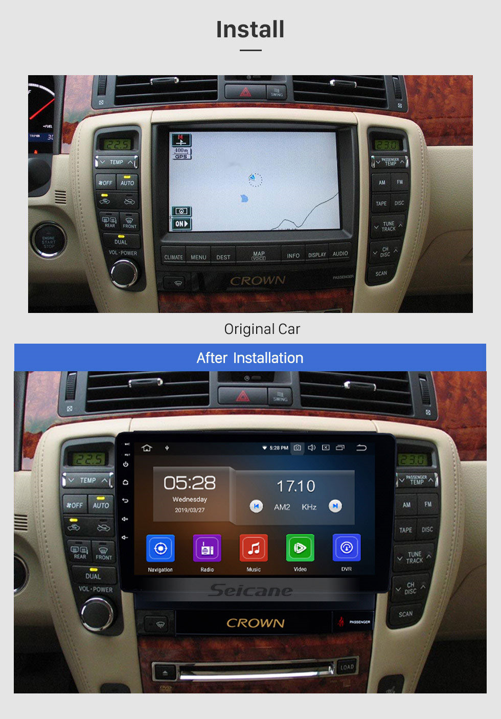 Seicane 9 inch Android 10.0 HD Touch Screen GPS Navigation System Radio 2010 2011 2012 2013 2014 Toyota old crown LHD with Bluetooth USB Support 3G/4G Wifi Digital TV Mirror Link  Steering Wheel Control