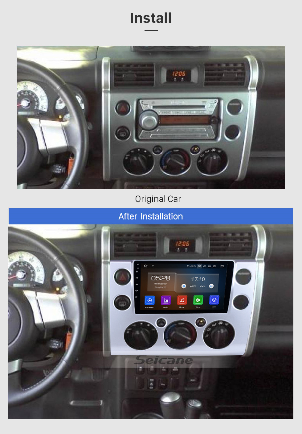 Seicane 9 inch OEM Android 10.0 HD Touchscreen GPS Navigation System Head Unit For 2007-2018 Toyota FJ CRUISER with USB Support 3G/4G WIFI DVR OBD II Steering Wheel Control