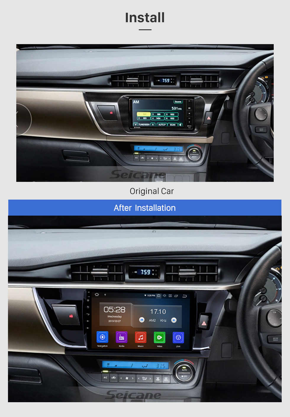 Seicane 10.1 inch Android 10.0 HD touch screen car multimedia GPS navigation system for 2014 Toyota Corolla RHD with Bluetooth Radio Mirror link Rear view camera TV USB OBD DVR 4G WIFI