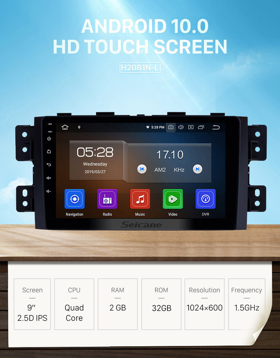 Seicane 9 inch aftermarket Android 10.0 HD Touchscreen GPS Navigation System Radio For 2008-2016 Kia Borrego with USB SupportDVR OBD II 3G/4G WIFI Steering Wheel Control