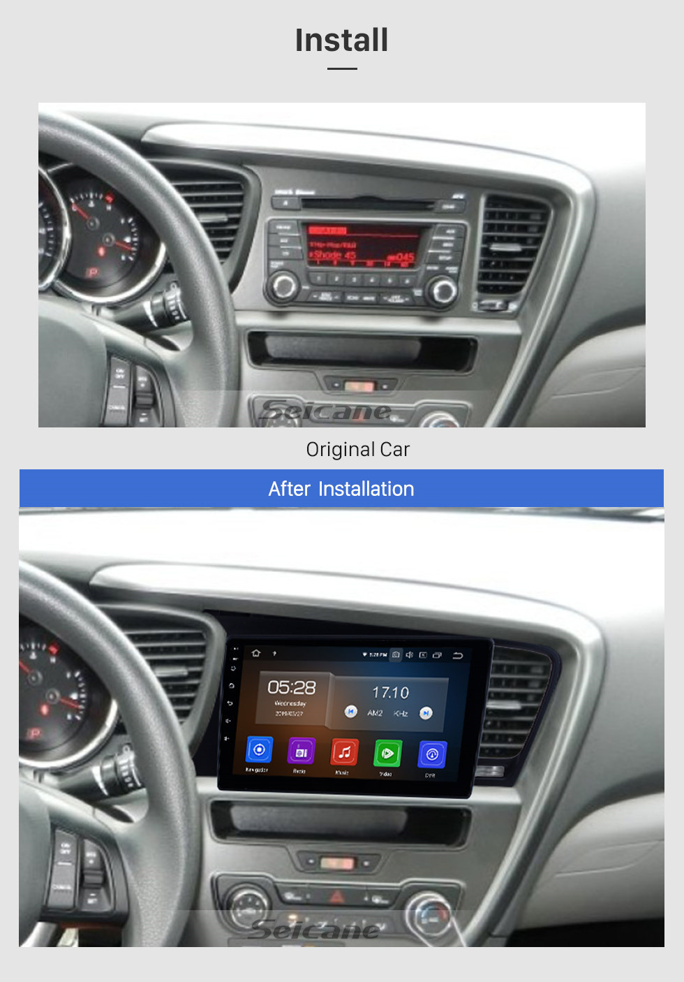 Seicane 9 Inch Aftermarket Android 10.0 GPS Navigation System Head Unit For 2011 2012 2013 2014 Kia K5 Touch Screen Bluetooth Radio Support Remote Control TV tuner DVD Player