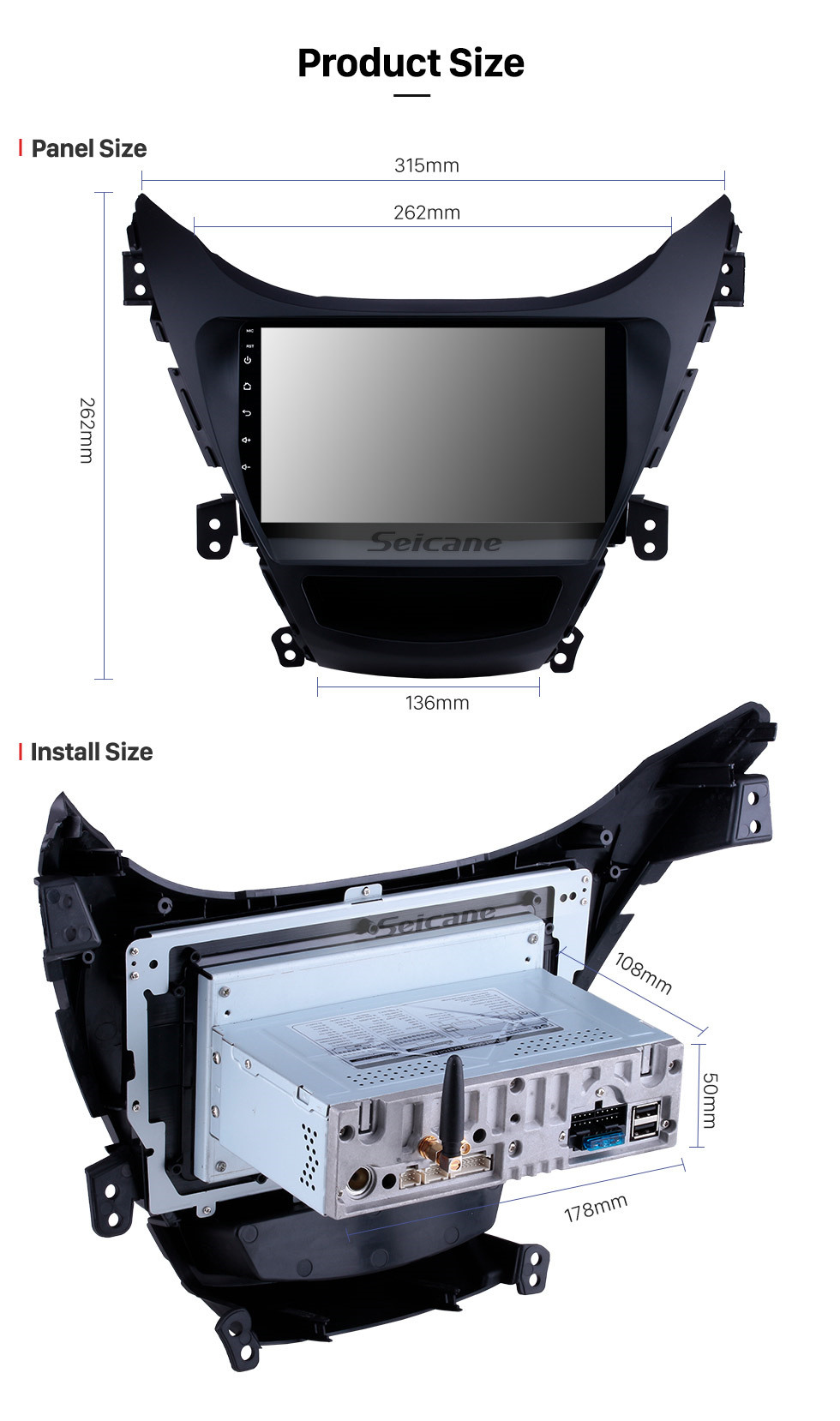 Seicane 9 inch 2011 2012 2013  Hyundai Elantra Radio Replacement with Aftermarket Car Bluetooth GPS System 1024*600 Multi-touch Capacitive Screen 3G WiFi Mirror Link OBD2 AUX HD 1080P Video DVR