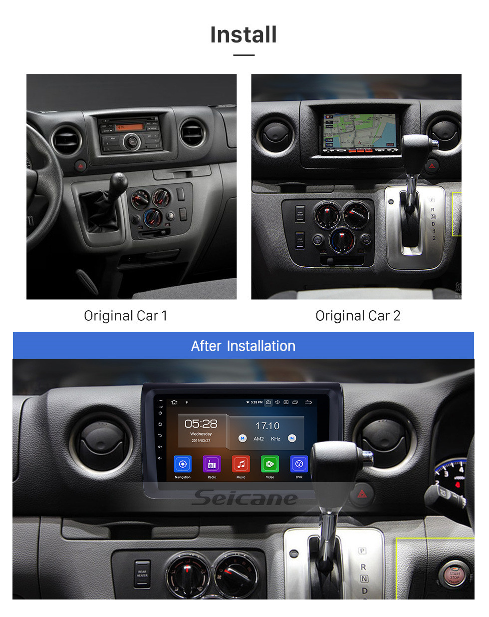 "Seicane HD Touchscreen 9"" Aftermarket Android 10.0 Car Stereo GPS Navi Head unit for NISSAN NV350 with Bluetooth music Wifi USB support DVD Player Carplay OBD Steering Wheel Control Digital TV"