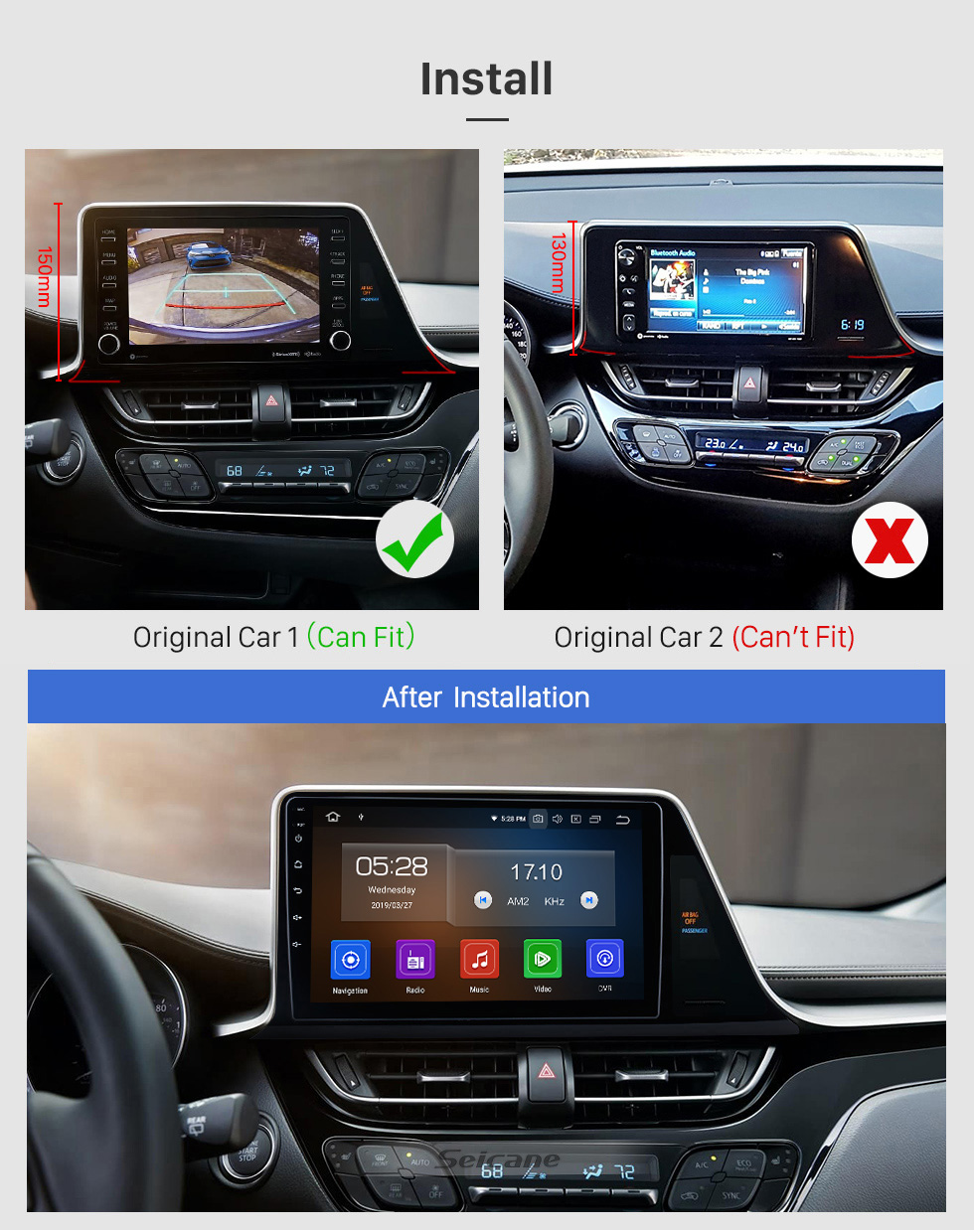 Seicane OEM HD Touchscreen 9 inch Android 10.0 Radio for 2016 2017 2018 Toyota C-HR GPS Navigation Head unit USB Bluetooth SWC support 4G WIFI DVR Digital TV 1080P Video Carplay