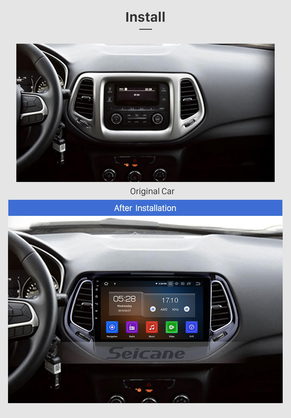 Seicane Android 10.0 Navegação GPS para 2017 Jeep Bússola de 10.1 polegada HD Touchscreen Multimídia de Rádio Bluetooth MP5 música Mirror Link WIFI suporte USB 4G Carplay SWC OBD2 Retrovisor