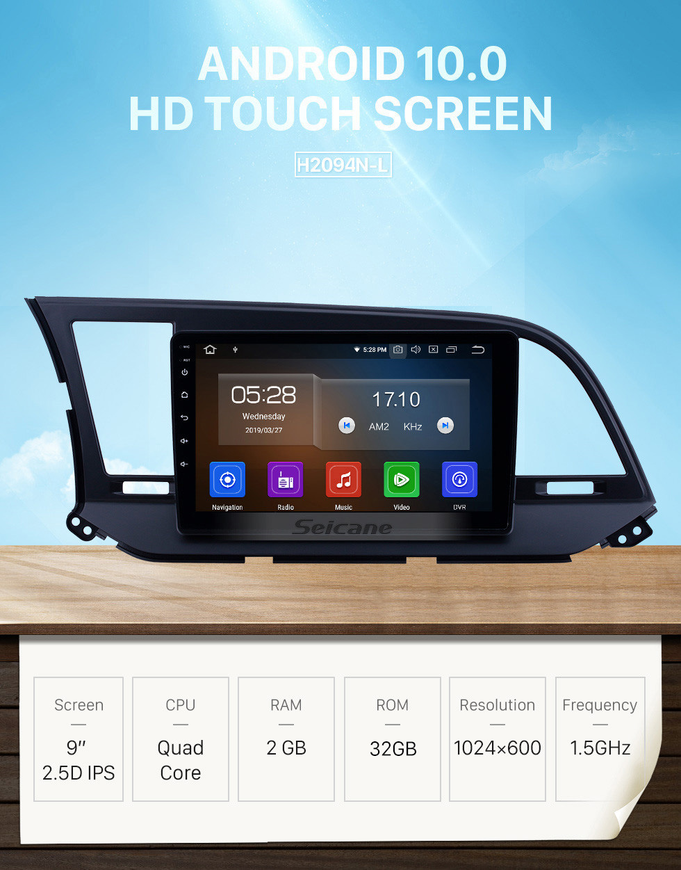 Seicane 9 inch aftermarket Android 10.0 HD Touchscreen Head Unit GPS Navigation System For 2016 Hyundai  Elantra LHD with USB Support OBD II DVR  3G/4G WIFI Rearview Camera