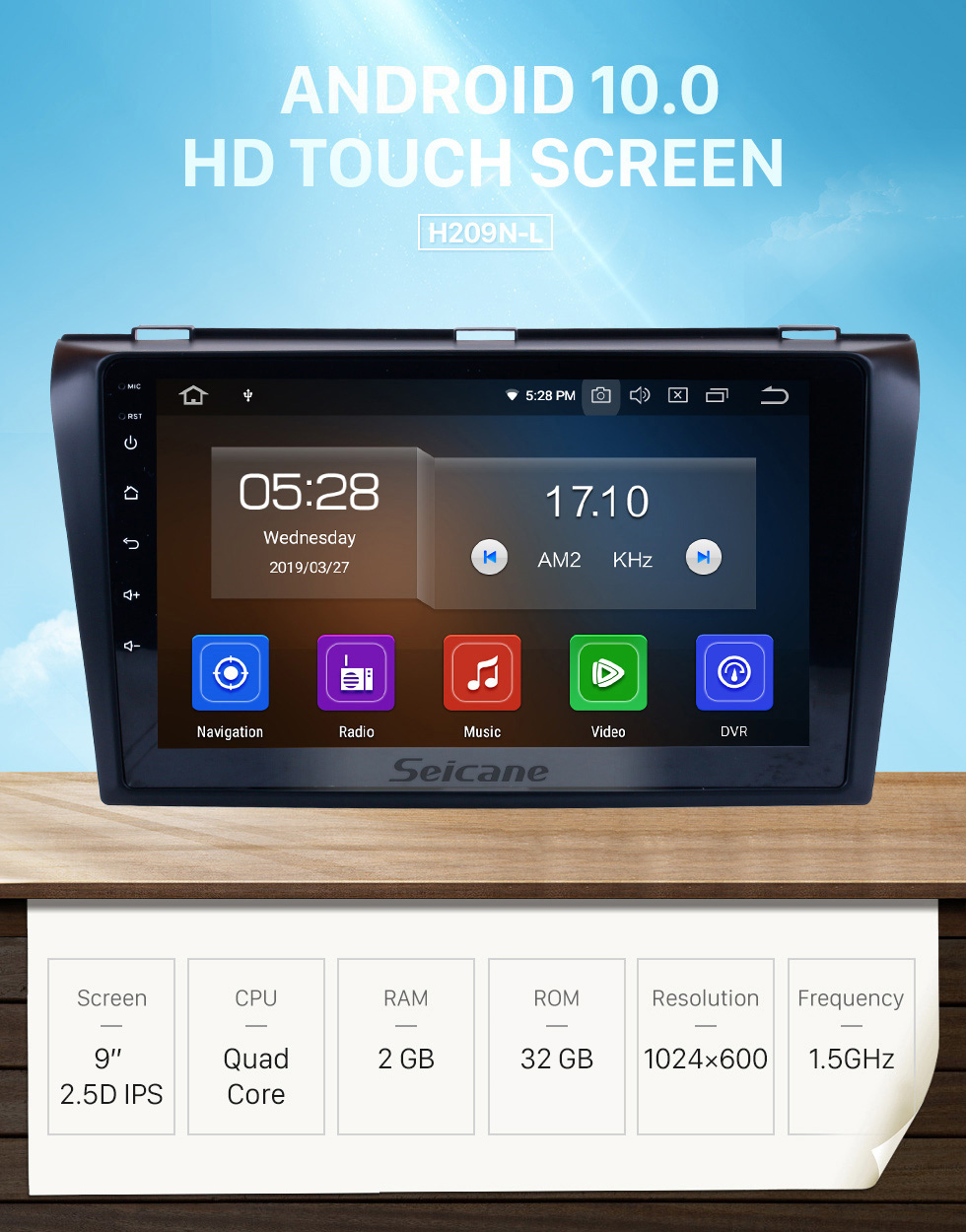 Seicane All-in-one Android 10.0 2004-2009 Mazda 3 Radio Upgrade with in Dash GPS Navigation System 1024*600 Multi-touch Capacitive Screen Bluetooth Music Mirror Link OBD2 3G WiFi HD 1080P DVR USB Backup Camera