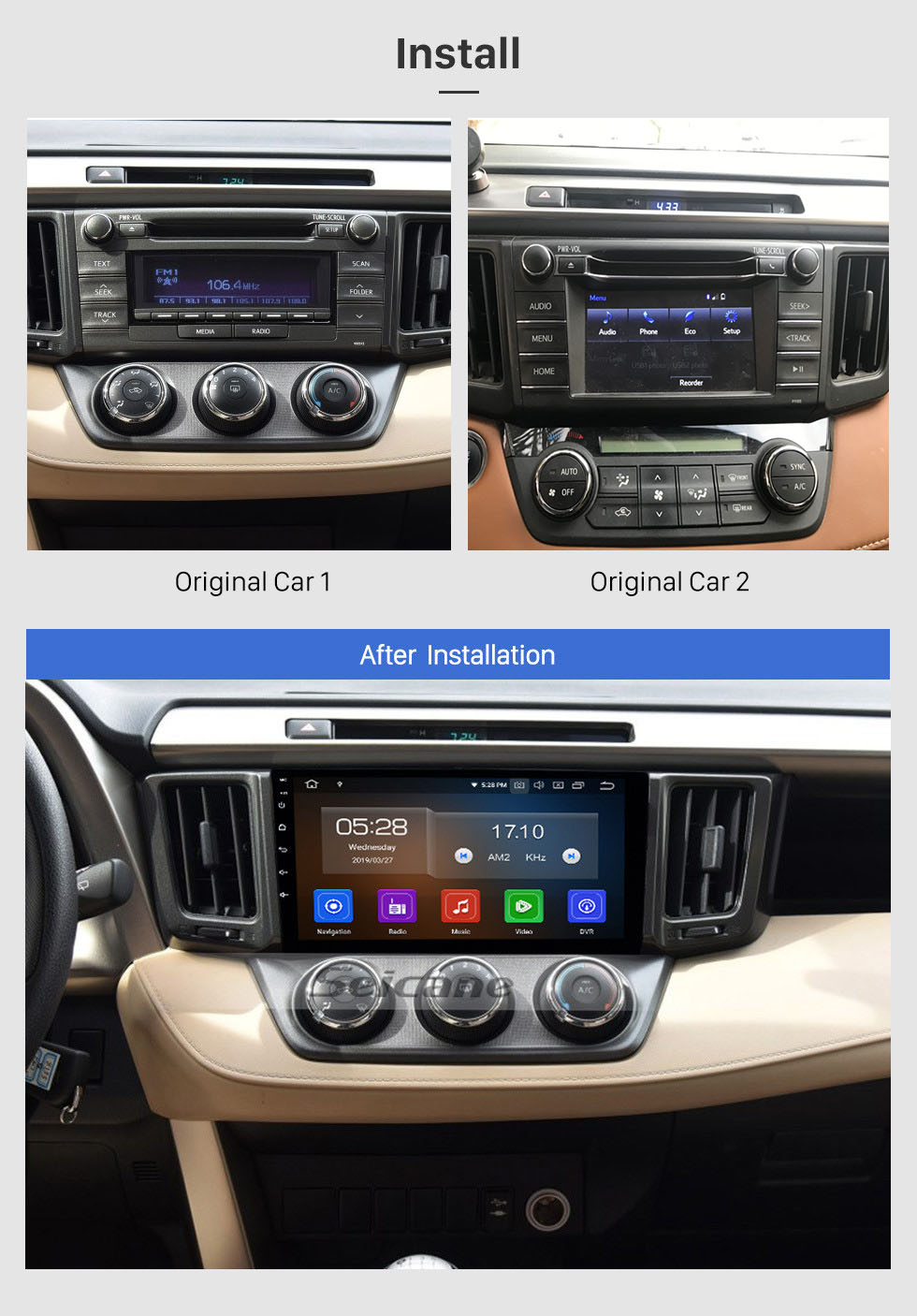 Seicane 9 Inch Android 10.0 GPS Navigation System Radio For 2013 2014 2015 2016 2017 2018 Toyota RAV4 LHD Support DVD Player Remote Control Bluetooth Touch Screen TV tuner