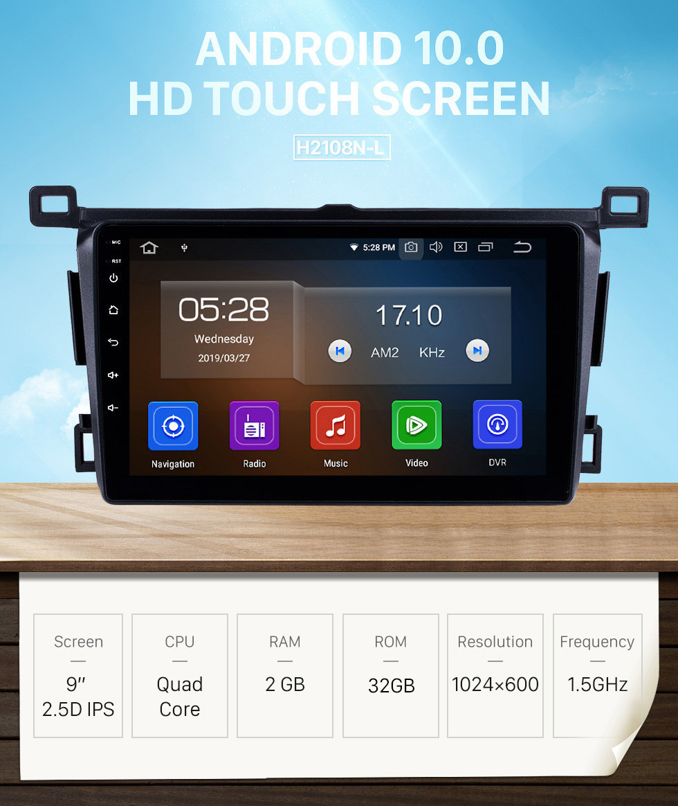 Seicane 9 inch 2013-2018 Toyota RAV4 RHD Android 10.0 In-Dash Sat Nav Head Unit GPS Radio RDS Bluetooth 3G WiFi TV Tuner AUX HD 1080P Video Rearview Camera USB