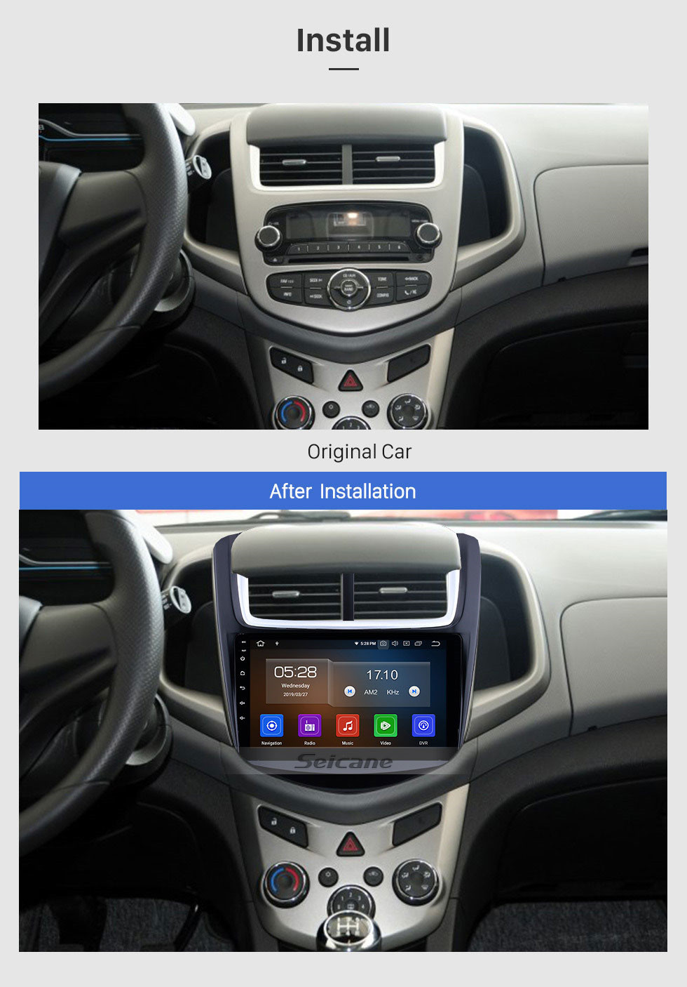 Seicane 9 inch 2014 Chevy Chevrolet Aveo HD Touch Screen GPS Radio Replacement Navigation Bluetooth Music WiFi TV Tuner support DVR AUX DVD Player 3G Steering Wheel Control