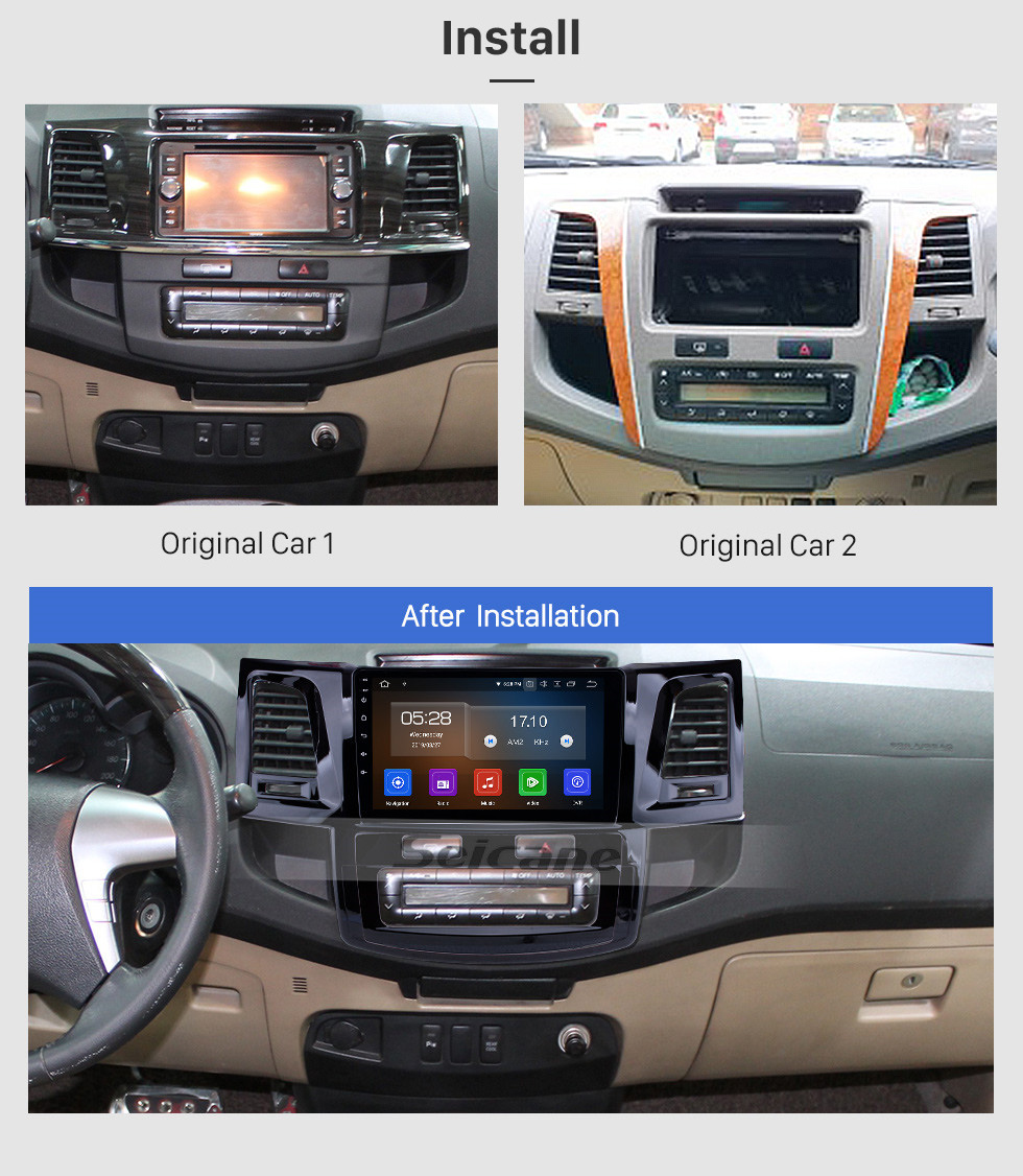 Seicane 2008-2014 Toyota FORTUNER HILUX Android 10.0 Radio 9 inch HD Touchscreen GPS Navigation Stereo Bluetooth Wifi Music AUX RDS support Rearview Camera SWC DVR