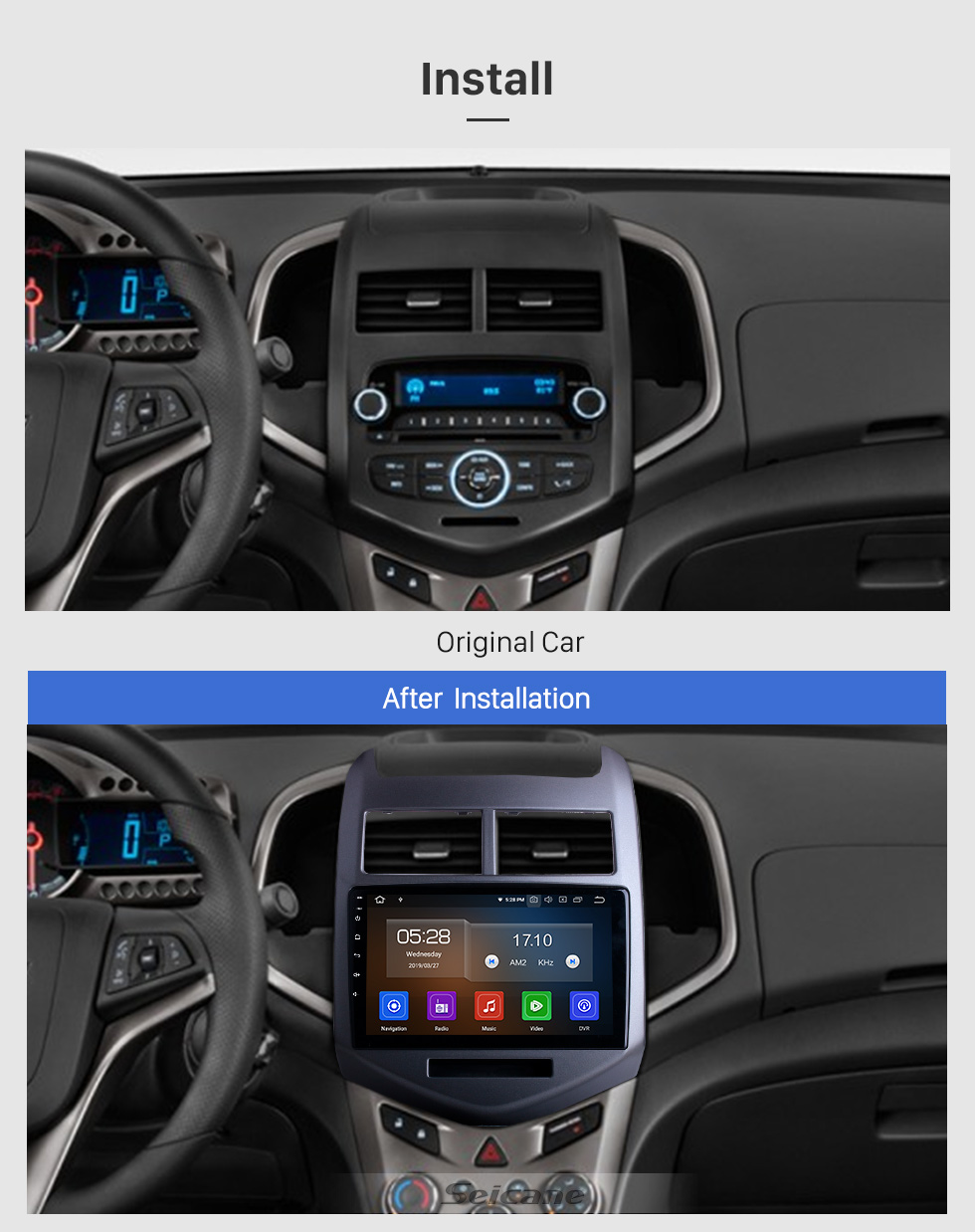 Seicane One Din 9 inch Android 10.0 Radio GPS Stereo for 2010 2011 2012 2013 Chevy Cheverolet aveo  Bluetooth USB WIFI Mirror Link DVR OBD2 Steering Wheel Control