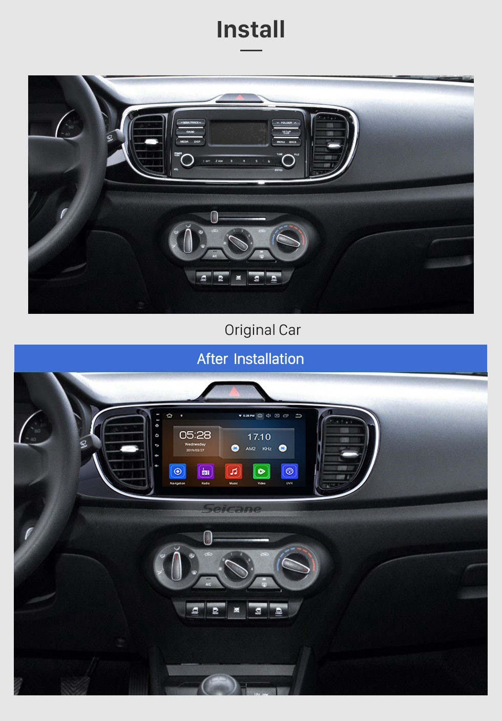Seicane 9 inch touchscreen 2017 KIA PEGAS LHD Android 10.0 Car Radio GPS Navigation Head unit Bluetooth  music USB support OBD Carplay Backup Camera 1080P DVD Player 4G Wifi