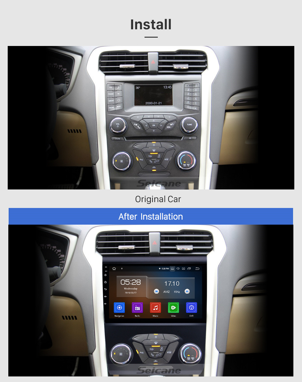 Seicane Android 10.0 9 inch 2012 2013 2014 FORD MONDEO HD Touchscreen Radio GPS Navigation System 4G WiFi Bluetooth Mirror Link Backup Camera Steering Wheel Control TV 1080P