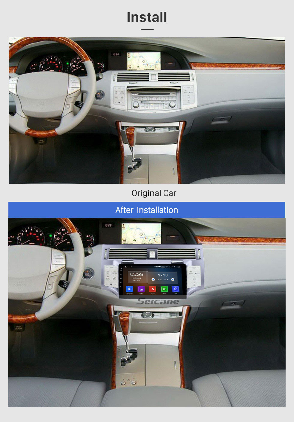 Seicane OEM Android 10.0 HD Touchscreen 9 Inch Car Multimedia Player for 2006 2007 2008 2009 2010 TOYOTA AVALON with Bluetooth GPS Navi Auto Radio Steering Wheel Control Rearview 4G WIFI
