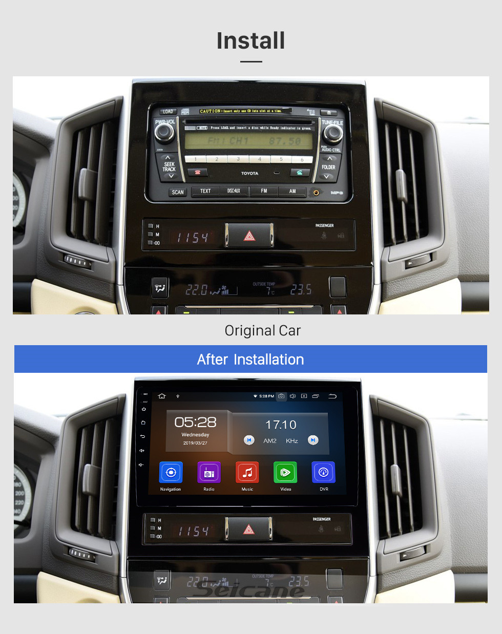 Seicane 9 inch 2015 2016 2017 2018 Toyota Land cruiser HD Touchscreen Android 10.0 Radio GPS Navigation System with Bluetooth Mirror Link OBD2 4G WiFi AUX Steering Wheel Control Backup Camera