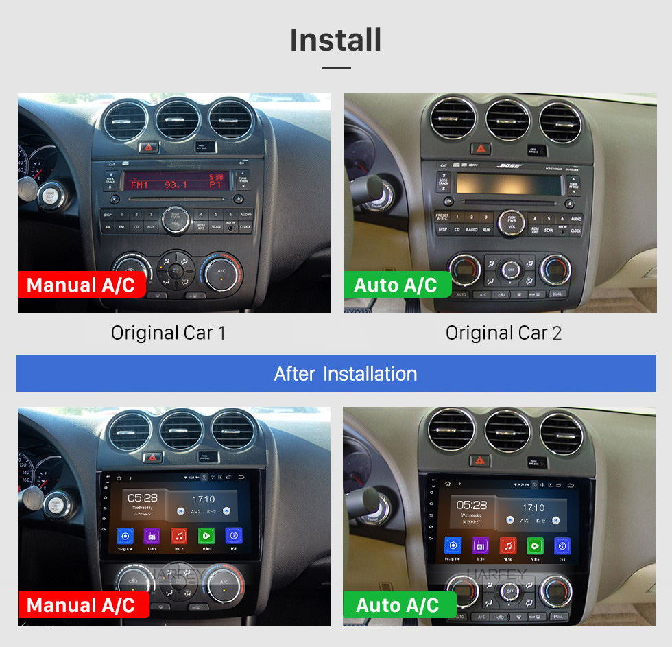 Seicane 2008-2012 Nissan Teana ALTIMA Auto A/C 9 inch Android 10.0 GPS Navigation Radio with Bluetooth Carplay USB WIFI HD Touchscreen Stereo support DVR DVD