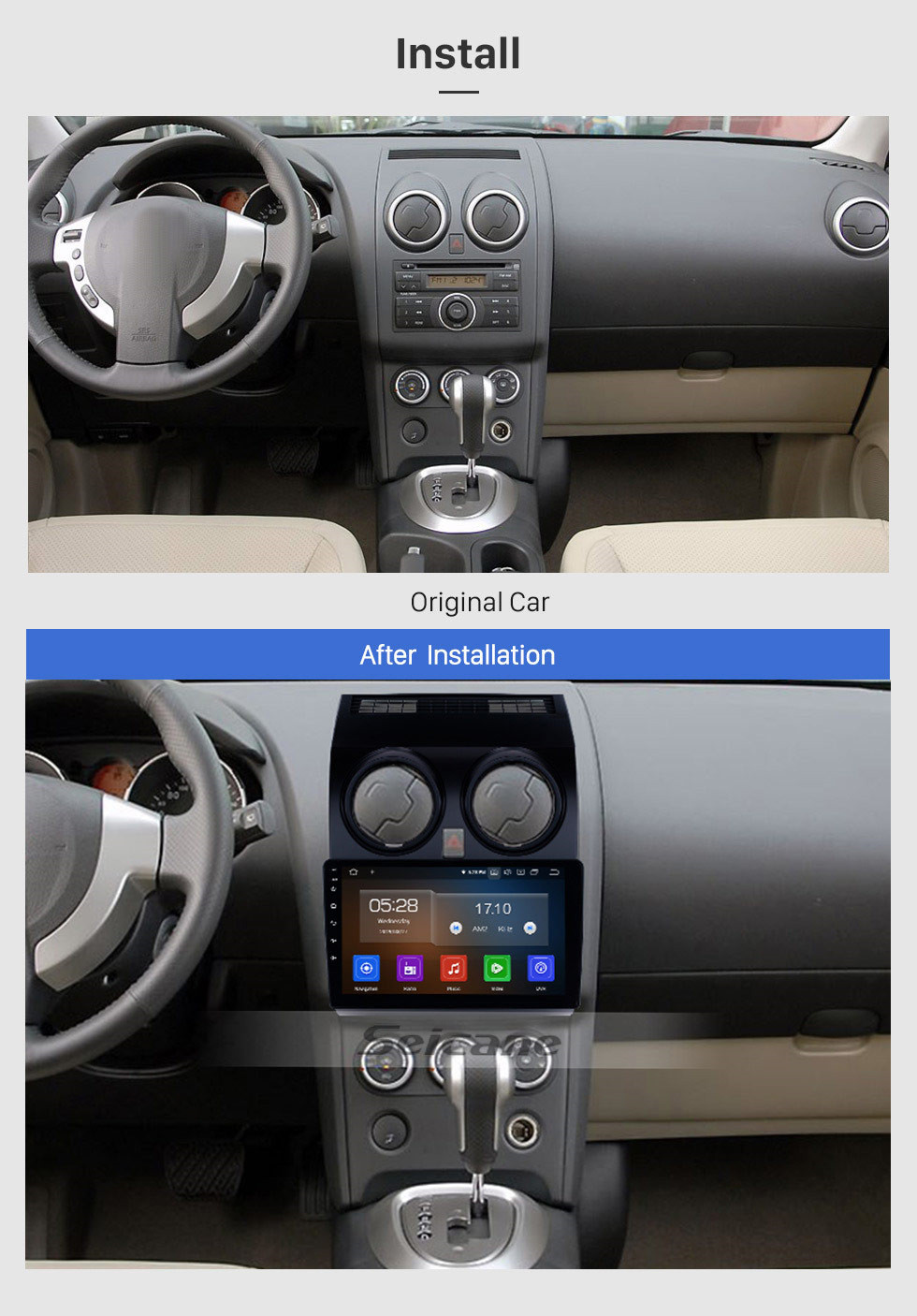 Seicane Android 10.0 GPS Navigation 9 inch Radio for 2008-2015 Nissan Qashqai 1 J10 with 1024*600 touchscreen stereo USB Bluetooth AM/FM WIFI music support Backup Camera SWC OBD2 DVD Player 4G