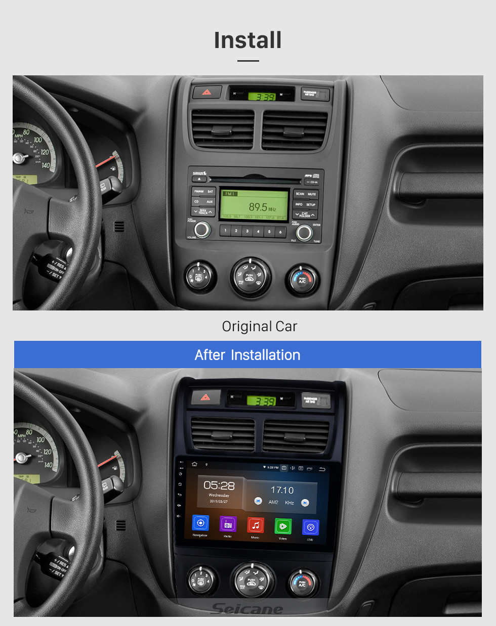 Seicane HD Touchscreen Android 10.0 9 Inch Radio for 2007-2017 KIA Sportage Auto A/C GPS Navigation Bluetooth music FM RDS WIFI USB support 4G Carplay DVD TPMS DVR OBD