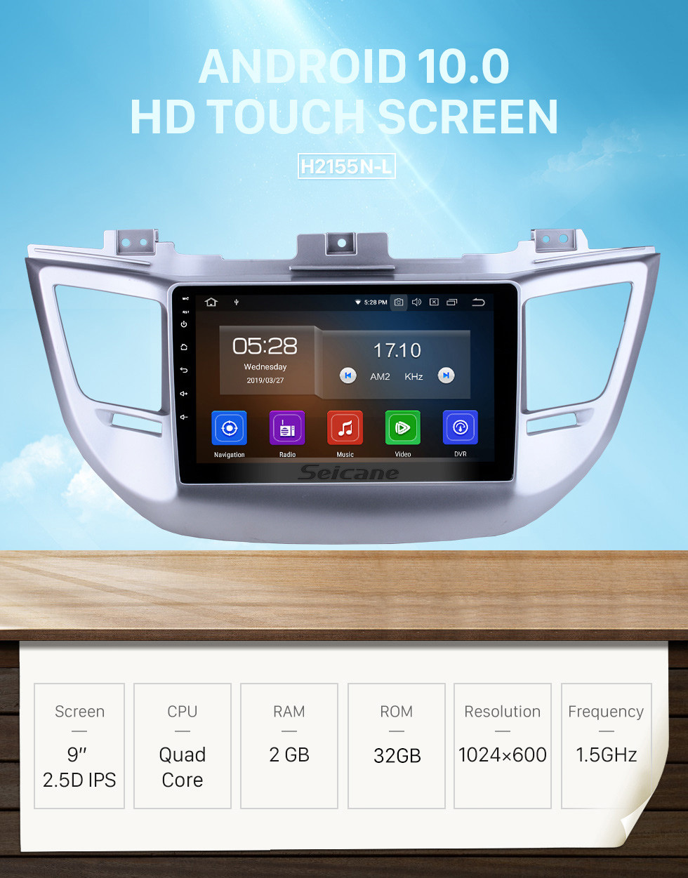 Seicane Aftermarket Radio Android 10.0 9 Inch HD Touchscreen Head Unit For 2014 2015 2016 Hyundai Tucson IX35 Car Stereo GPS Navigation System Bluetooth Phone WIFI Support OBDII DVR 1080P Video Steering Wheel Control Mirror Link