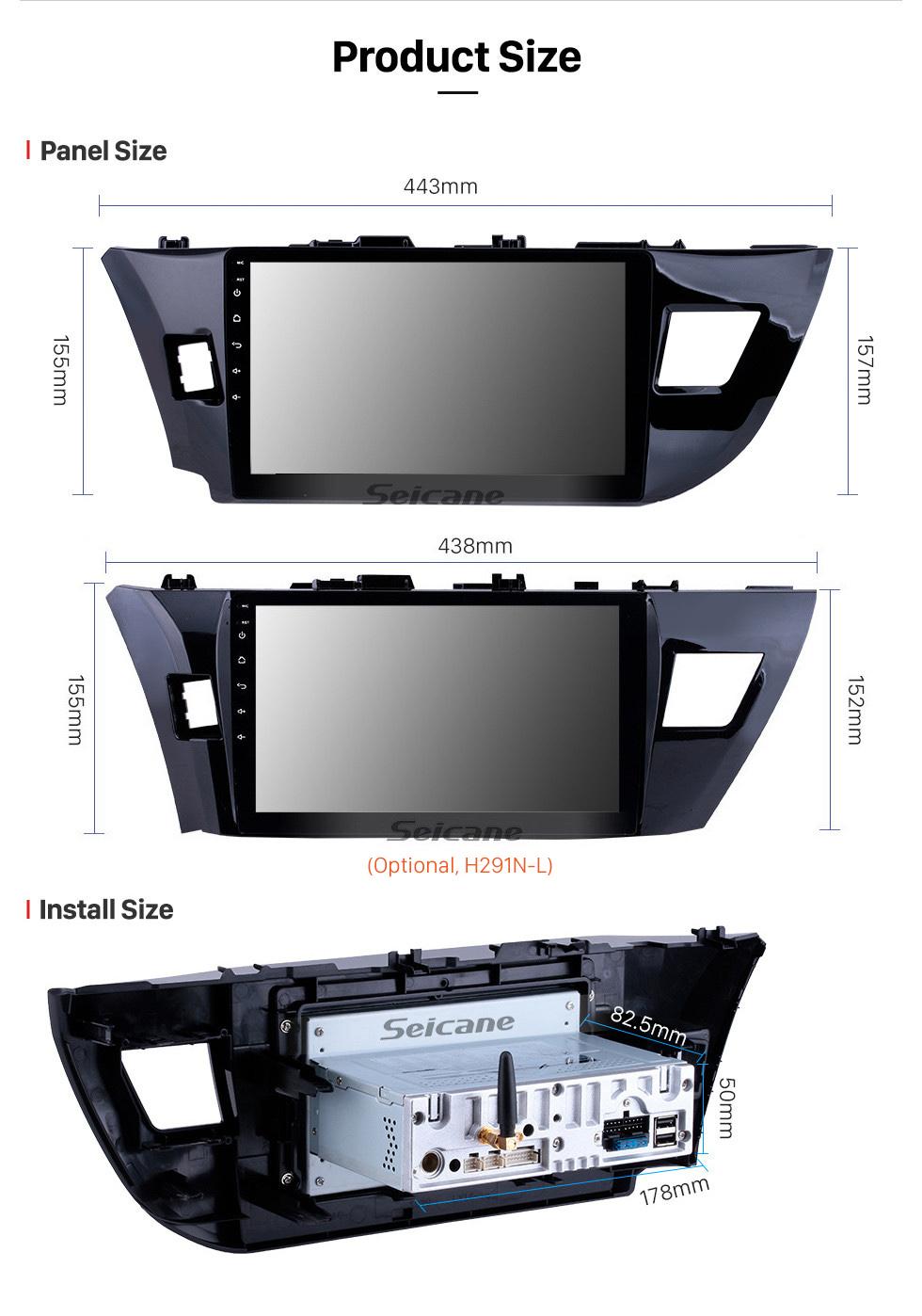 Seicane 10.1 pouces Quad-core Android 10.0 Système de navigation GPS Autoradio pour 2013 2014 2015 Toyota LEVIN Bluetooth HD écran tactile stéréo support OBD DVR Caméra de recul Lien miroir Lecteur DVD TV USB SD 3G WIFI