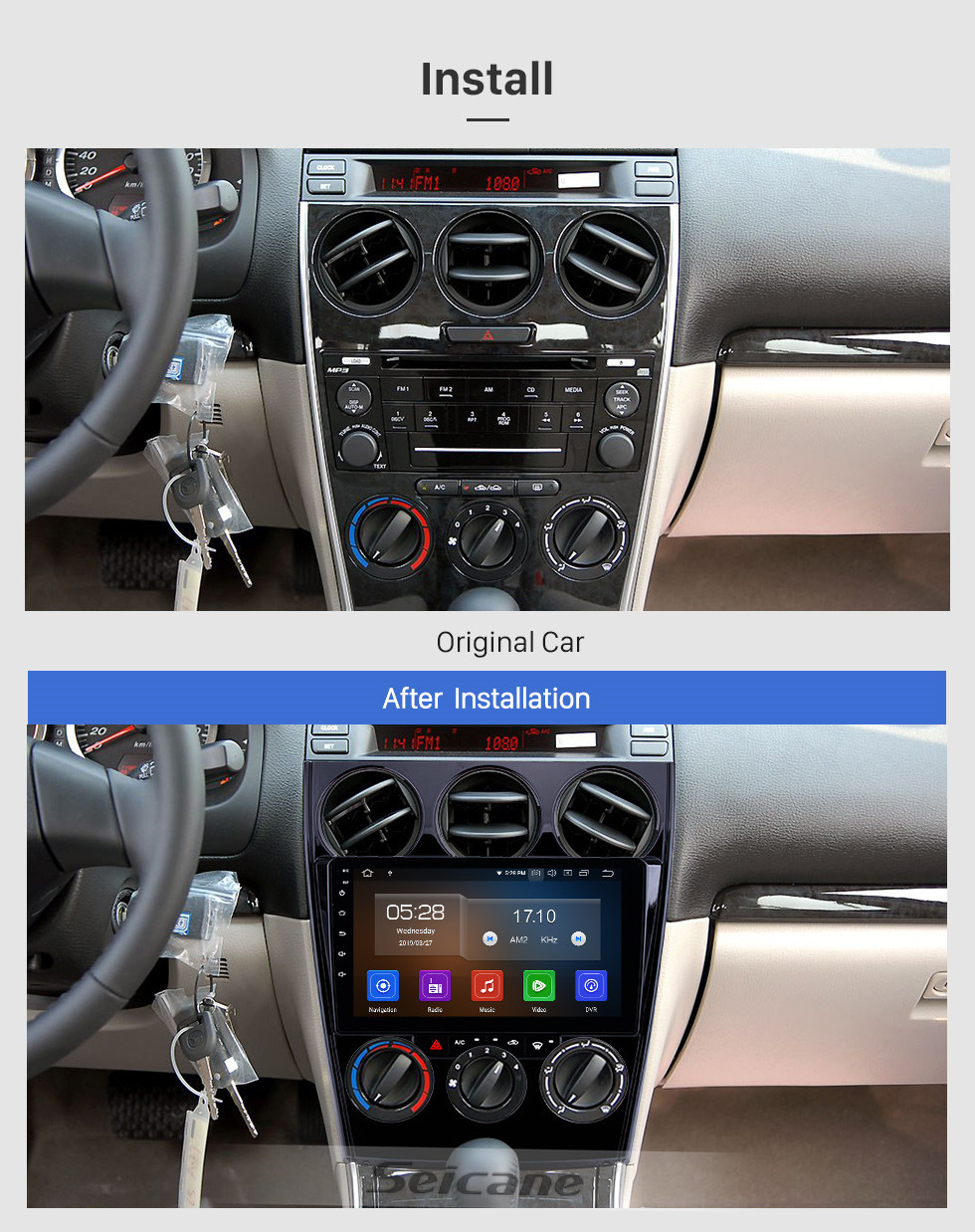 Seicane Android 10.0 9 inch 2002-2008 Old Mazda 6 HD Touchscreen Bluetooth Radio GPS Navigation Carplay support DVD Player 1080P Digital TV SWC 4G WIFI DVR