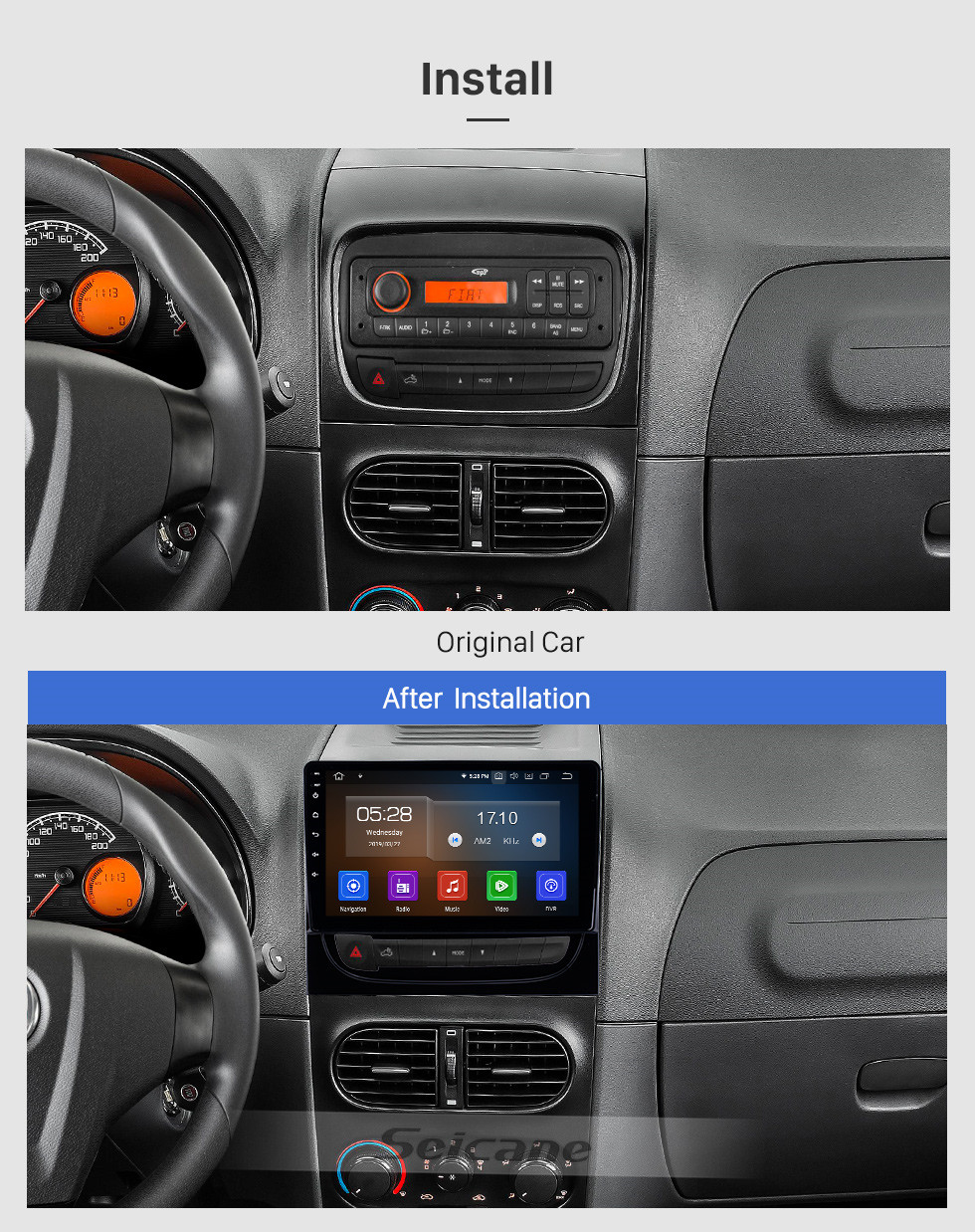 Seicane 2012-2016 Fiat Strada/cdea 9 inch Android 10.0 Bluetooth Radio HD Touchscreen GPS Navigation Carplay USB support Mirror Link 1080P Video 4G OBD