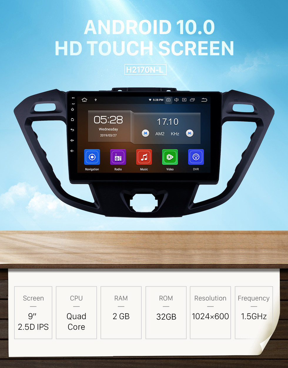 Seicane 2017 Ford JMC Tourneo Connect Low Version 9 inch Android 10.0 Radio HD Touchscreen GPS Navi Stereo with USB FM RDS WIFI Bluetooth support SWC DVD Playe 4G