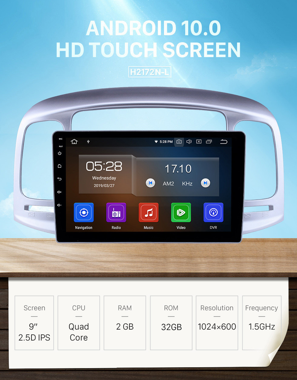 Seicane Android 10.0 9 inch GPS Navigation Radio for 2006-2011 Hyundai Accent Head Unit GPS Audio with Carplay Bluetooth WIFI USB AUX support DVD SWC OBD2 TPMS