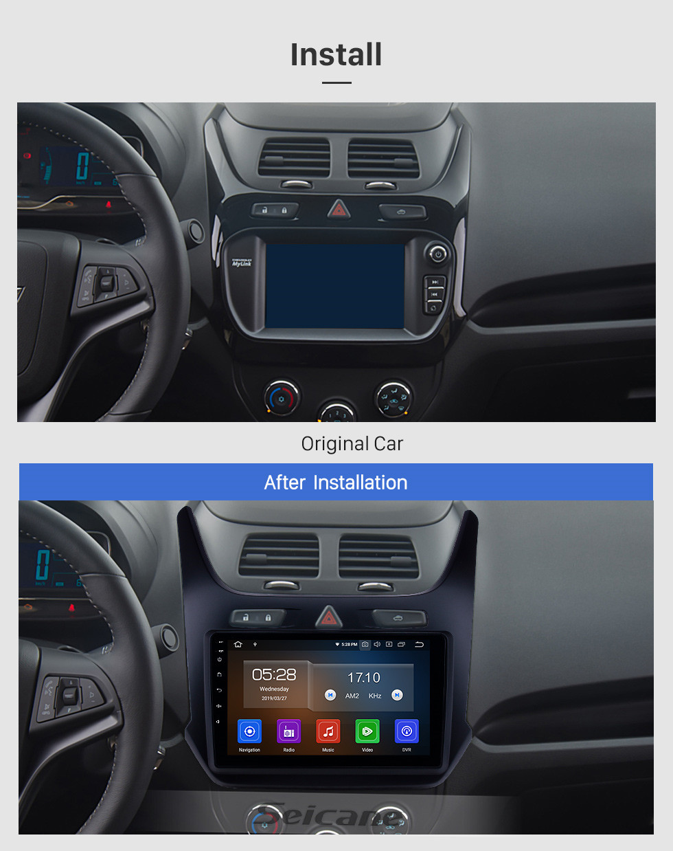 Seicane Android 10.0 9 inch HD Touchscreen GPS Navigation Radio for 2016-2018 chevy Chevrolet Cobalt with USB Bluetooth Carplay support DVR DAB+ Digital TV