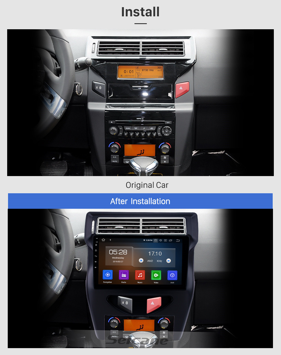 Seicane 2012 Citroen C4 C-QUATRE 10.1 inch Android 10.0 Radio with HD Touchscreen GPS Navigation Bluetooth AUX support DVR TPMS Backup camera 4G WIFI OBD2