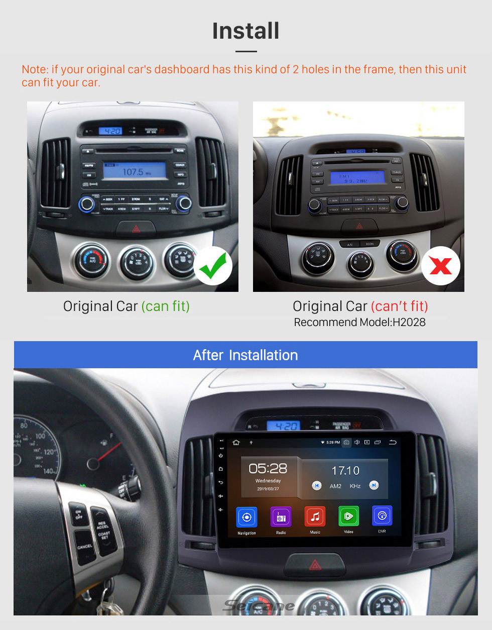Seicane Android 10.0 9 inch GPS Navigation Radio for 2007-2011 Hyundai Elantra with HD Touchscreen Carplay Bluetooth WIFI USB AUX support Mirror Link OBD2 SWC