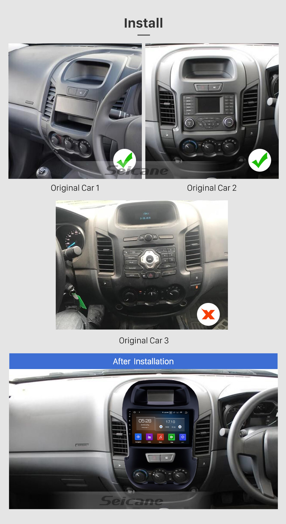 Seicane Android 10.0 9 inch 2012 Ford Ranger with GPS Navigation Radio HD Touchscreen USB AUX Music Bluetooth Carplay support Steering Wheel Control