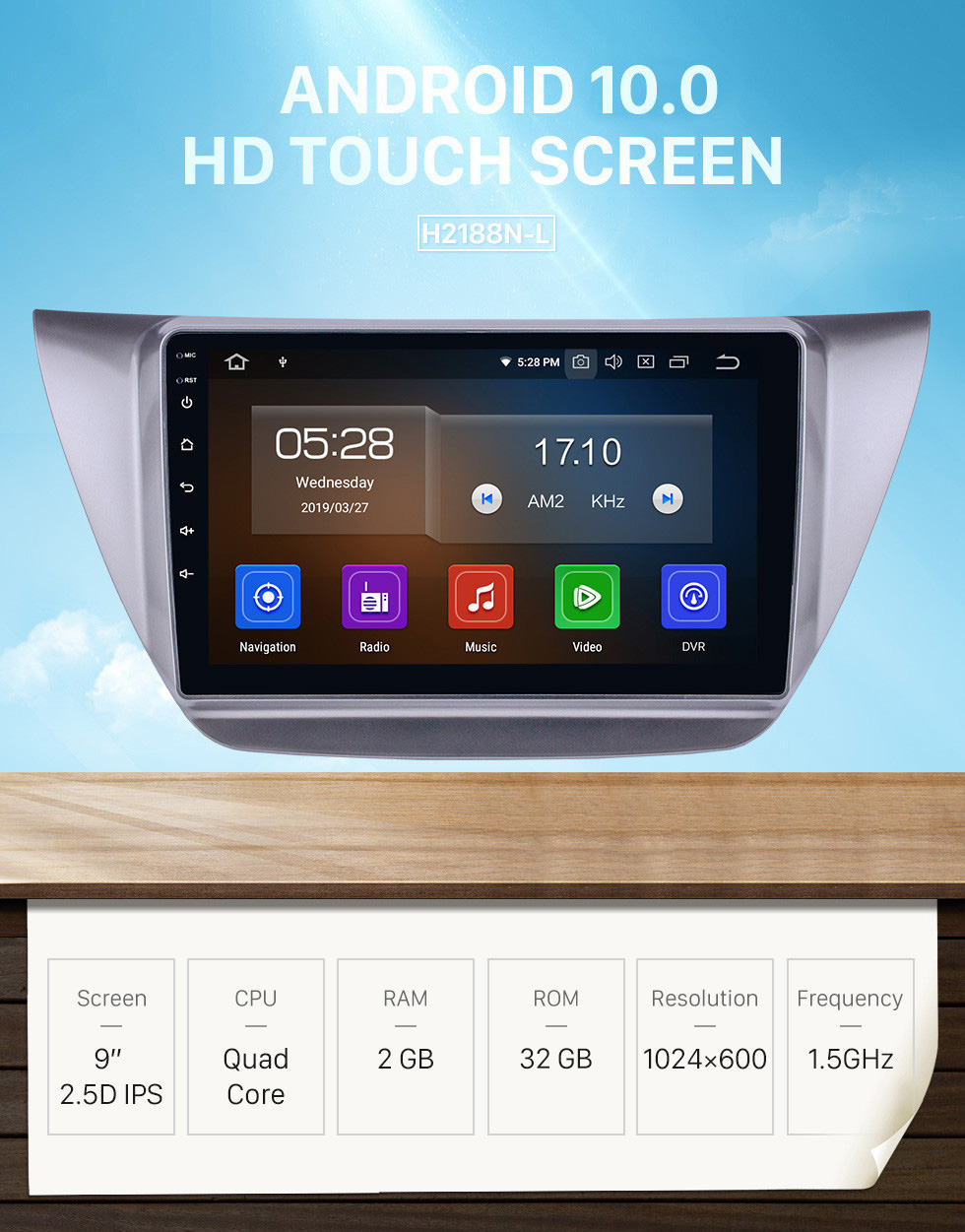 Seicane Android 10.0 9 inch 2006-2010 Mitsubishi Lancer IX HD Touchscreen GPS Navigation Radio with Bluetooth USB Carplay WIFI support Mirror Link Rearview camera