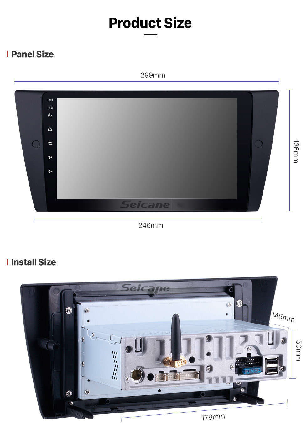 Seicane 9 inch Android 10.0 GPS Navigation System Radio for 2005-2012 BMW 3 Series E90 E91 E92 E93 316i 318i 320i 320si 323i 325i 328i 330i 335i 335is M3 316d 318d 320d 325d 330d 335d with HD Touchscreen Bluetooth Carplay support Steering Wheel Control