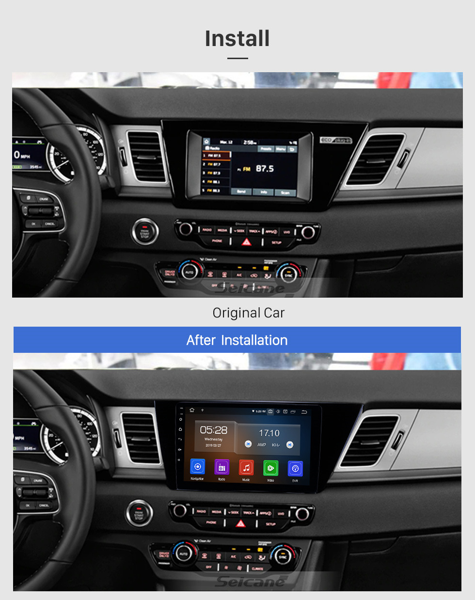 Seicane 2016-2019 Kia Niro 9 inch Android 10.0 GPS Navigation Radio Bluetooth HD Touchscreen USB Carplay Music AUX support TPMS OBD2 Rearview camera